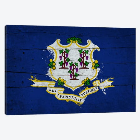 Connecticut Fresh Paint State Flag on Wood Planks Canvas Print #FLG70} by iCanvas Art Print