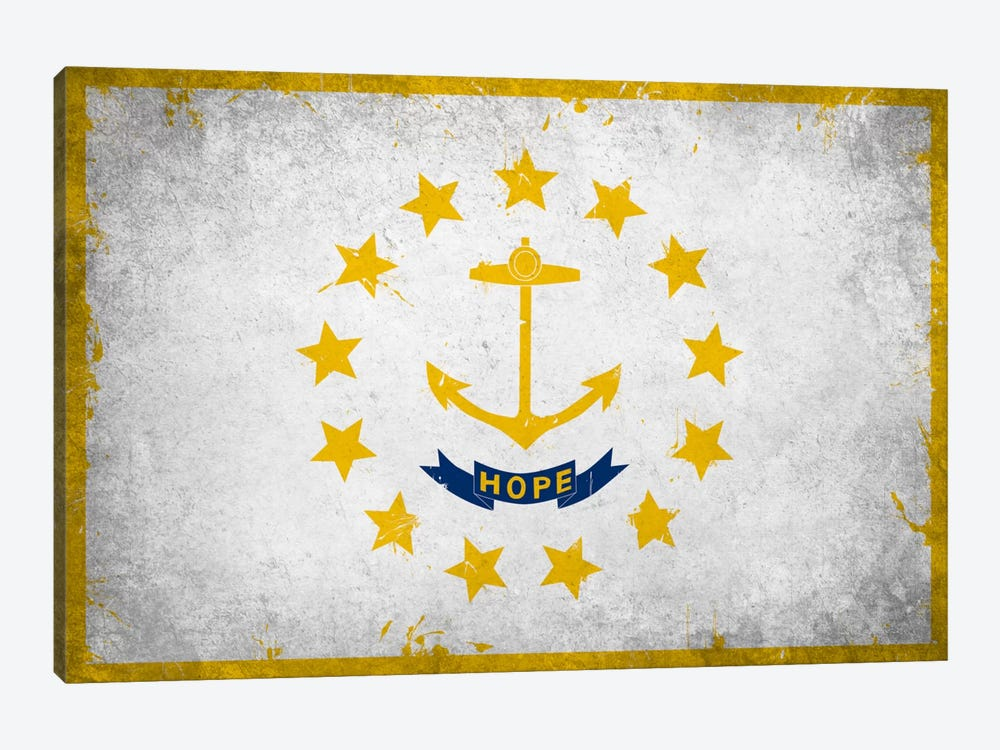 Rhode Island FlagGrunge Painted by iCanvas 1-piece Canvas Art Print