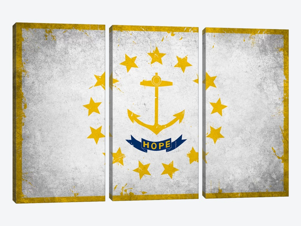 Rhode Island FlagGrunge Painted by iCanvas 3-piece Canvas Art Print