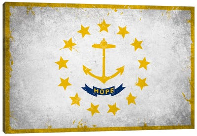 Rhode Island FlagGrunge Painted Canvas Art Print