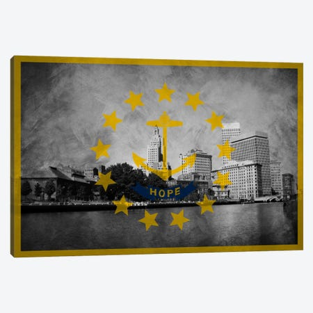 State Flag Overlay Series: Rhode Island (Downtown Providence Skyline) Canvas Print #FLG724} by iCanvas Canvas Artwork
