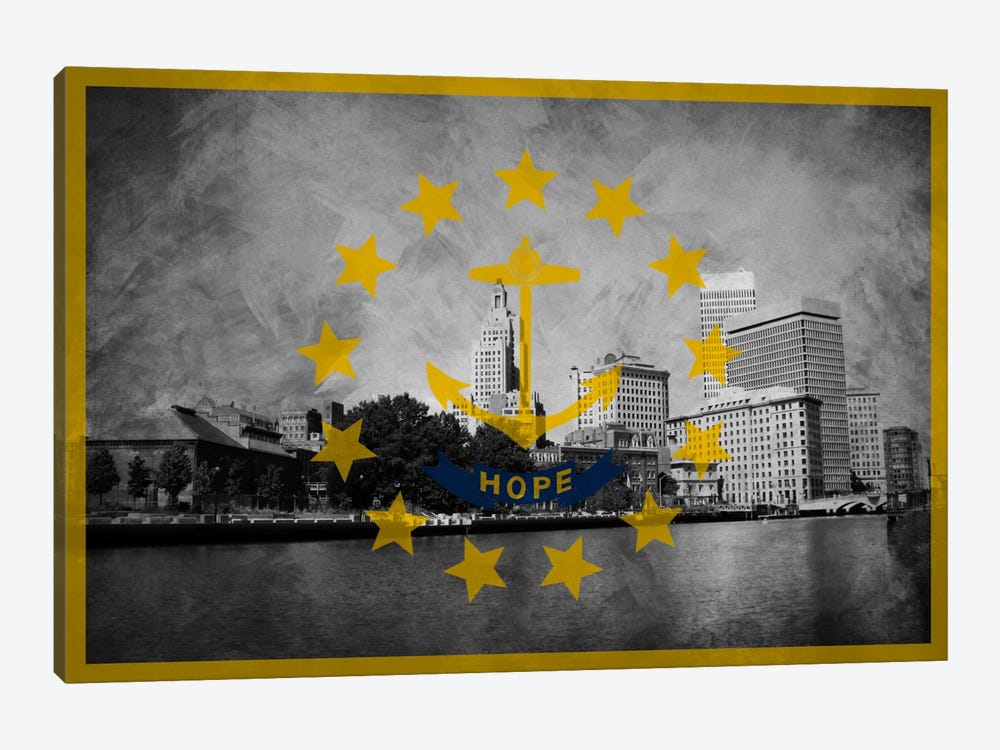 State Flag Overlay Series: Rhode Island (Downtown Providence Skyline) by iCanvas 1-piece Art Print