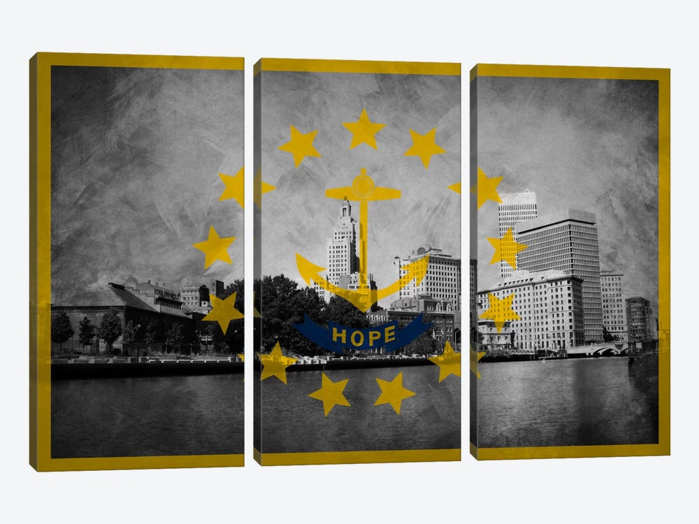 State Flag Overlay Series: Rhode Island (Downtown Providence Skyline) by iCanvas 3-piece Canvas Art Print