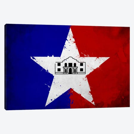 San Antonio, Texas Fresh Paint City Flag Canvas Print #FLG726} by iCanvas Canvas Wall Art