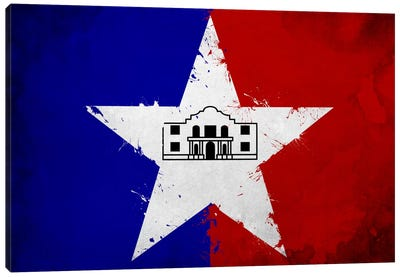 San Antonio, Texas Fresh Paint City Flag Canvas Art Print