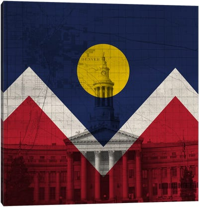City Flag Overlay Series: Denver, Colorado (City Hall) Canvas Art Print