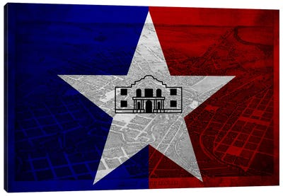 City Flag Overlay Series: San Antonio, Texas (Vintage Bird's Eye View) Canvas Art Print