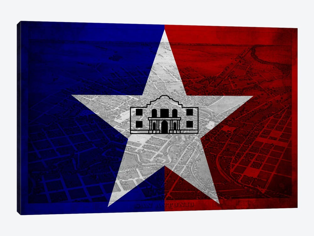 City Flag Overlay Series: San Antonio, Texas (Vintage Bird's Eye View) by iCanvas 1-piece Canvas Wall Art