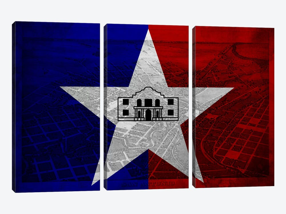 City Flag Overlay Series: San Antonio, Texas (Vintage Bird's Eye View) by iCanvas 3-piece Canvas Wall Art