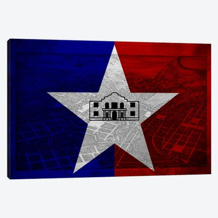 San Antonio, Texas (Vintage Bird's Eye View) Canvas Print #FLG730} by iCanvas Canvas Art