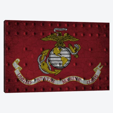U.S. Marine Corps Flag (Crackled Riveted Metal Background) Canvas Print #FLG731} by iCanvas Canvas Artwork