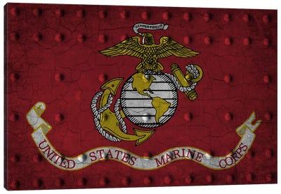 U.S. Marine Corps Flag (Crackled Riveted Metal Background) Canvas Art Print