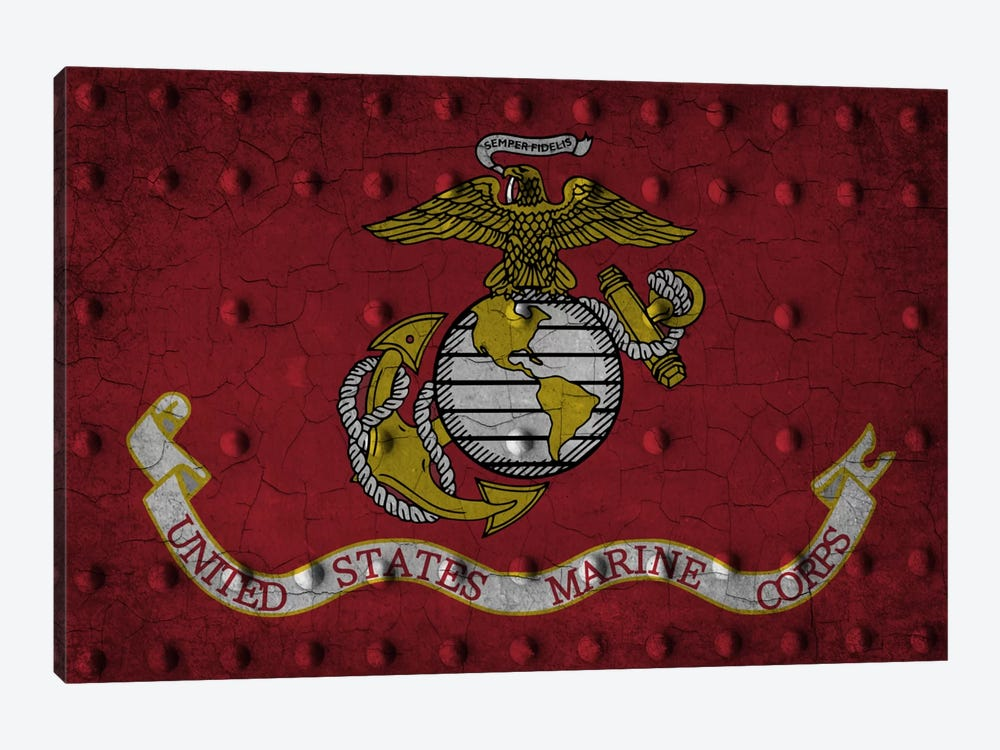 U.S. Marine Corps Flag (Crackled Riveted Metal Background) by iCanvas 1-piece Art Print