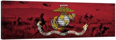 U.S. Marine Corps Flag (Unit On The Move Background) Canvas Art Print
