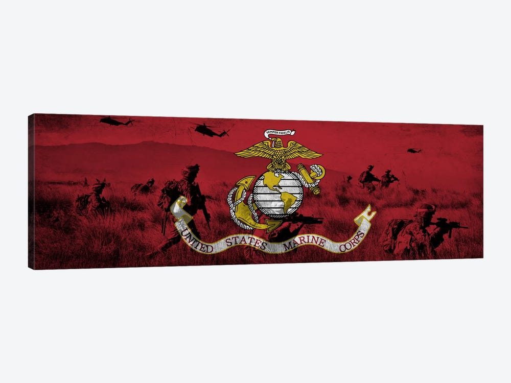 U.S. Marine Corps Flag (Unit On The Move Background) by iCanvas 1-piece Canvas Wall Art