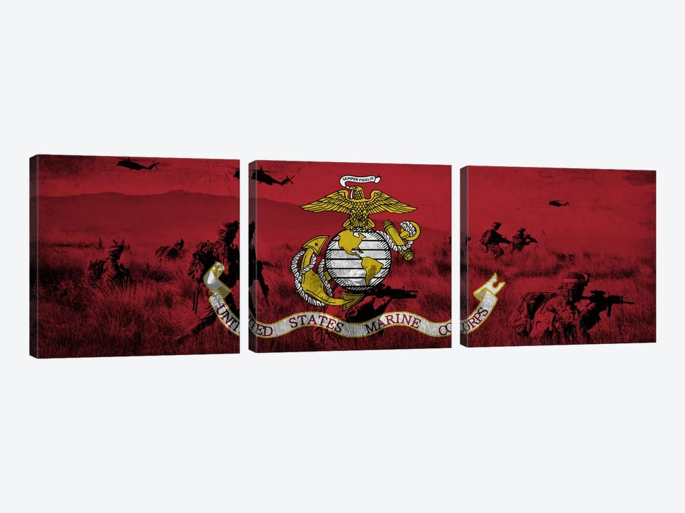 U.S. Marine Corps Flag (Unit On The Move Background) by iCanvas 3-piece Canvas Wall Art
