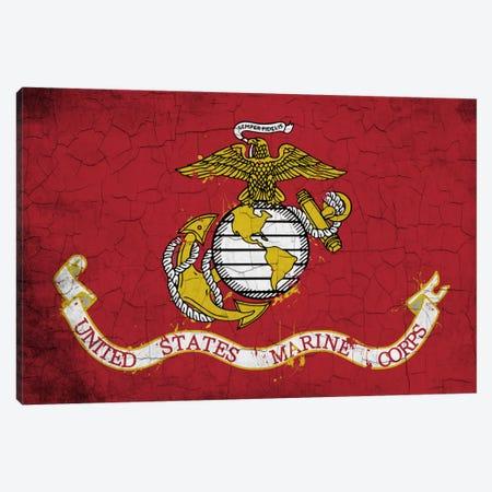 U.S. Marine Corps Crackled Flag Canvas Print #FLG733} by iCanvas Canvas Artwork