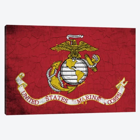U.S. Marine Corps Crackled Flag Canvas Print #FLG733} by iCanvas Canvas Artwork