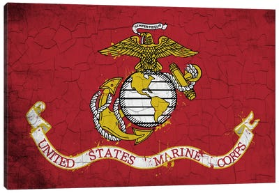 U.S. Marine Corps Crackled Flag Canvas Art Print