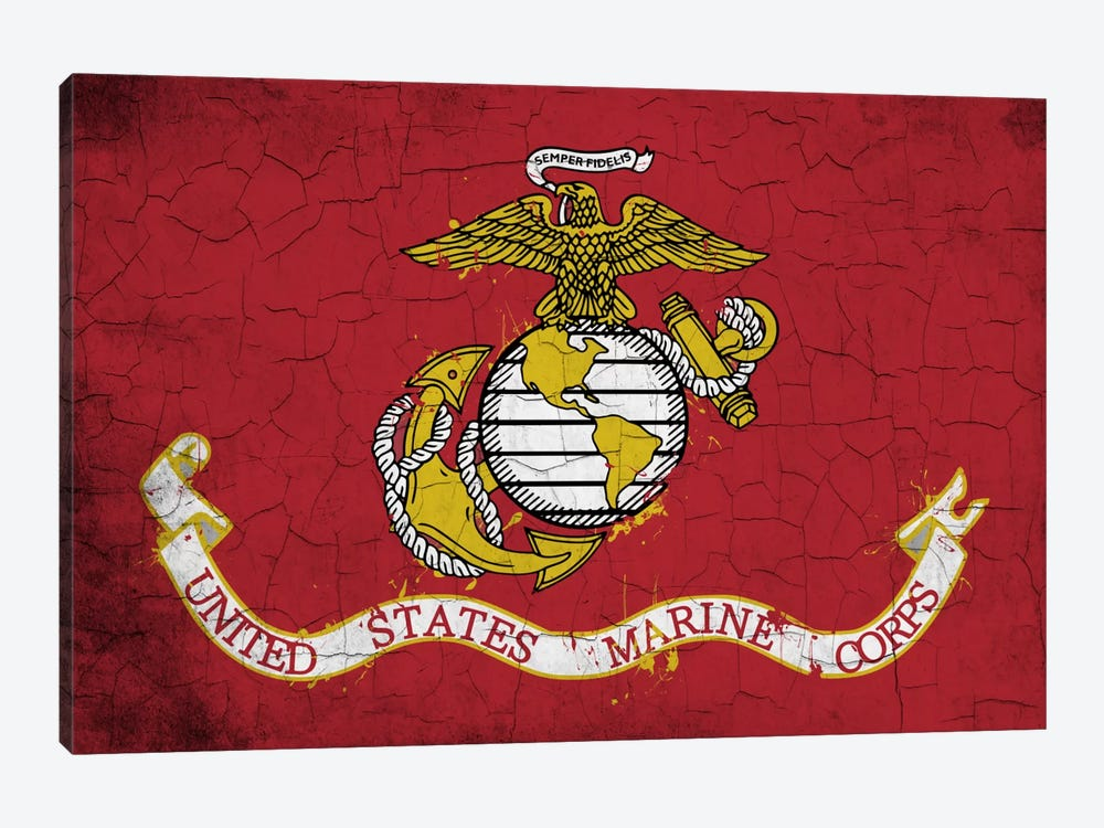 U.S. Marine Corps Crackled Flag by iCanvas 1-piece Canvas Print