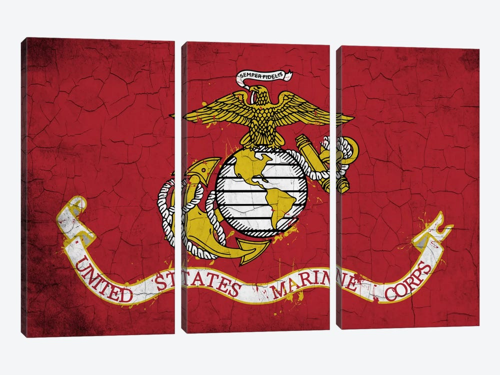 U.S. Marine Corps Crackled Flag by iCanvas 3-piece Canvas Art Print