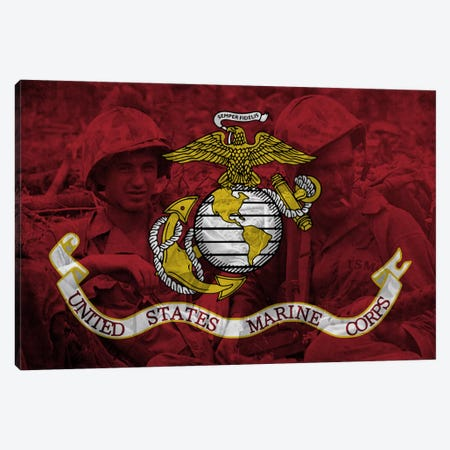 U.S. Marine Corps Flag (Brothers In Arms Background) Canvas Print #FLG734} by iCanvas Art Print