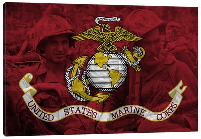 U.S. Marine Corps Flag (Brothers In Arms Background) Canvas Art Print
