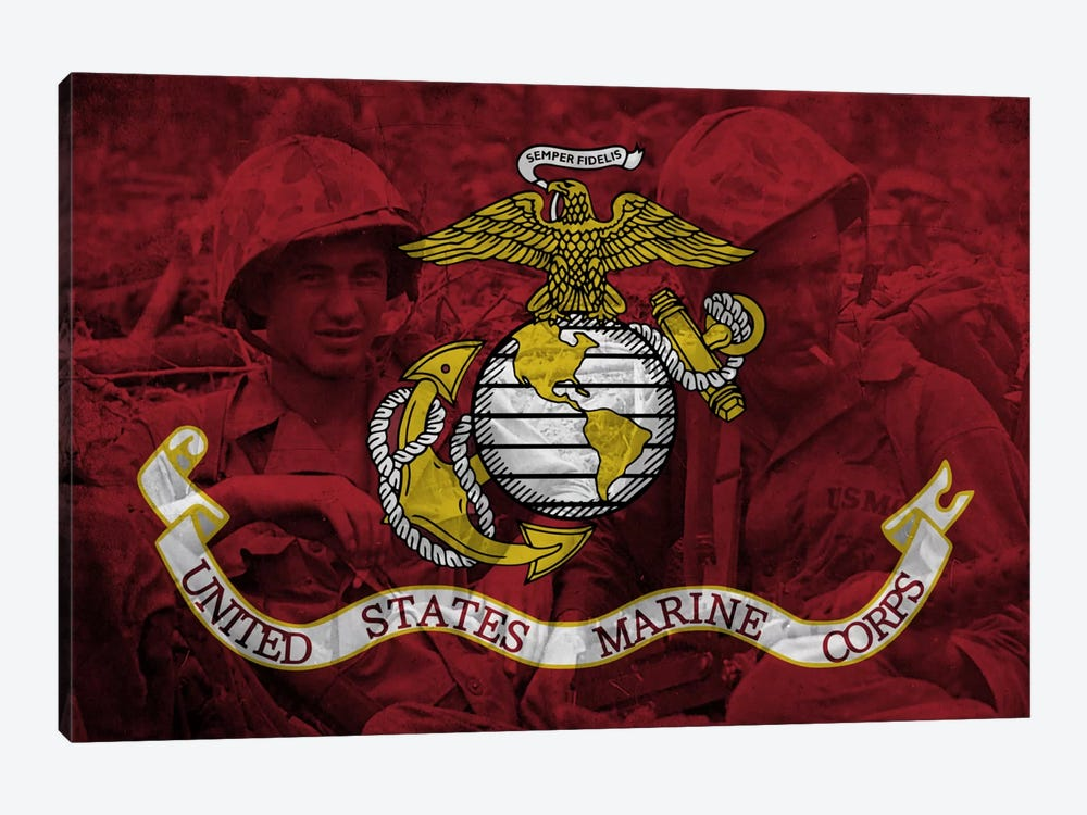 U.S. Marine Corps Flag (Brothers In Arms Background) by iCanvas 1-piece Canvas Artwork