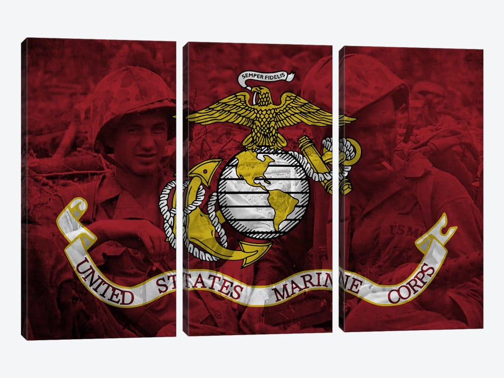 U.S. Marine Corps Flag (Brothers In Arms Background) by iCanvas 3-piece Canvas Art