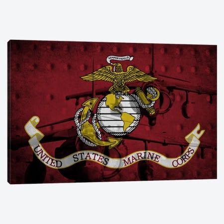 U.S. Marine Corps Riveted Metal Flag (Harrier Jump Jets Background) Canvas Print #FLG735} by iCanvas Art Print