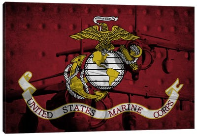 U.S. Marine Corps Riveted Metal Flag (Harrier Jump Jets Background) Canvas Art Print