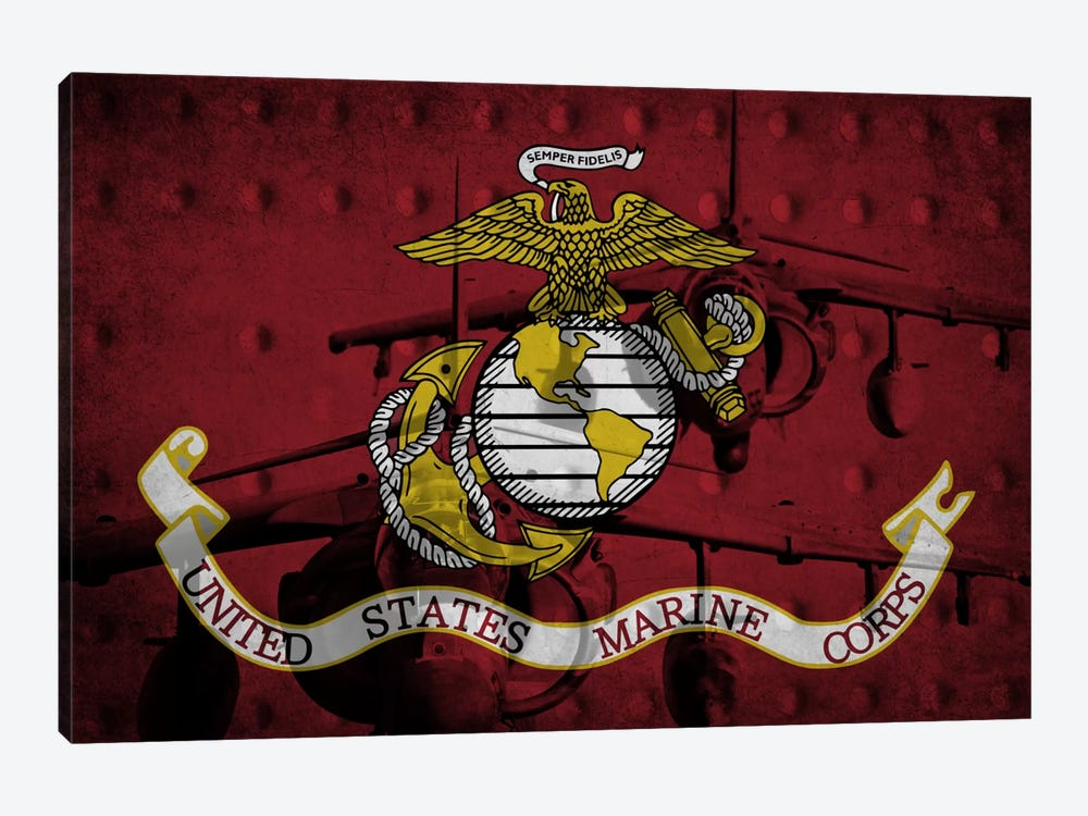 U.S. Marine Corps Riveted Metal Flag (Harrier Jump Jets Background) by iCanvas 1-piece Canvas Art Print