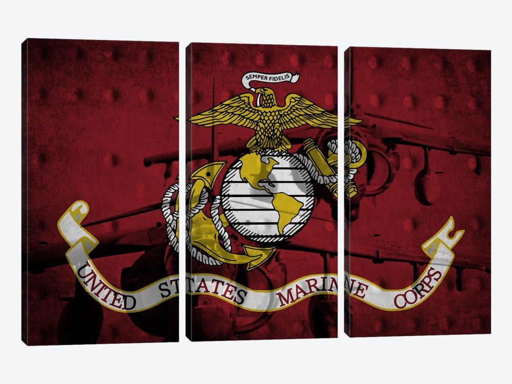 U.S. Marine Corps Riveted Metal Flag (Harrier Jump Jets Background) by iCanvas 3-piece Canvas Print