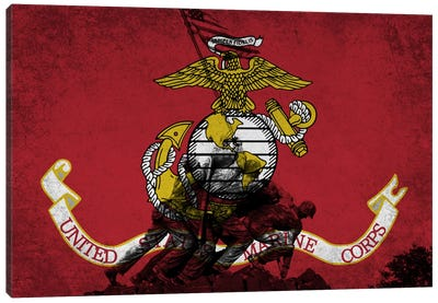U.S. Marine Corps Flag (Iwo Jima War Memorial Background) Canvas Art Print