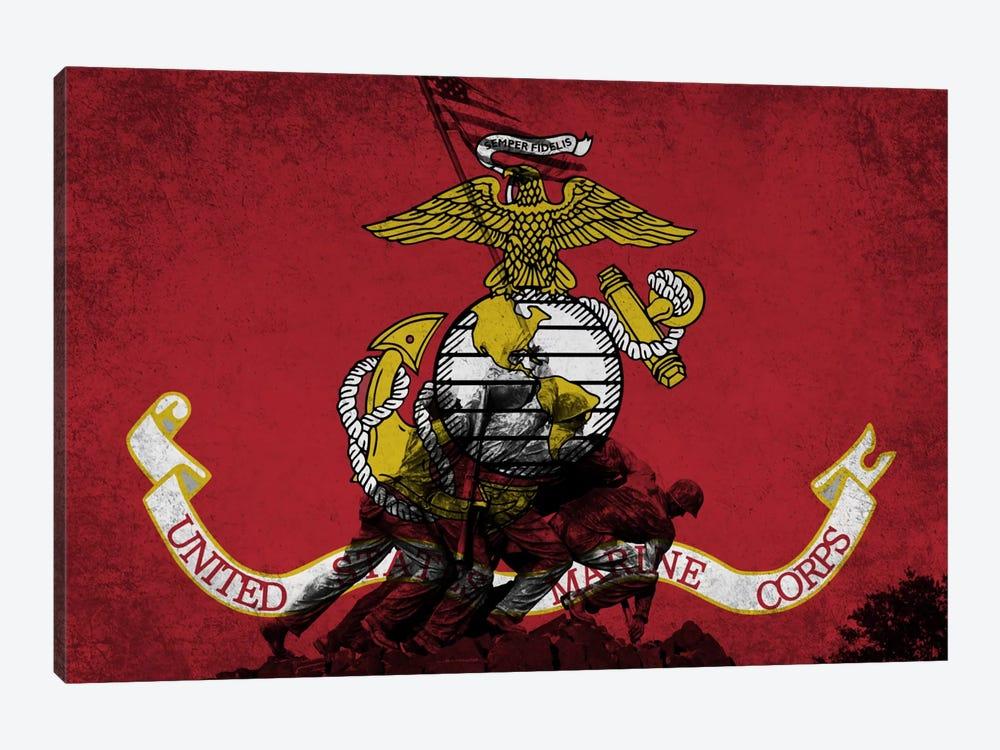 U.S. Marine Corps Flag (Iwo Jima War Memorial Background) by iCanvas 1-piece Canvas Artwork