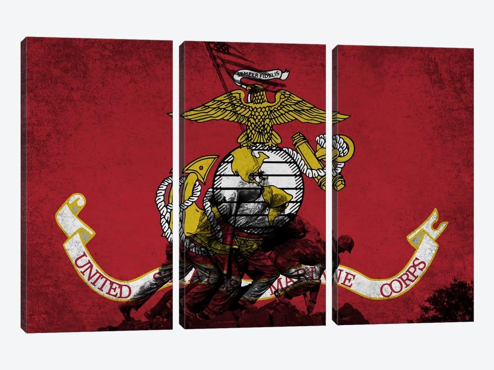 U.S. Marine Corps Flag (Iwo Jima War Memorial Background) by iCanvas 3-piece Canvas Artwork