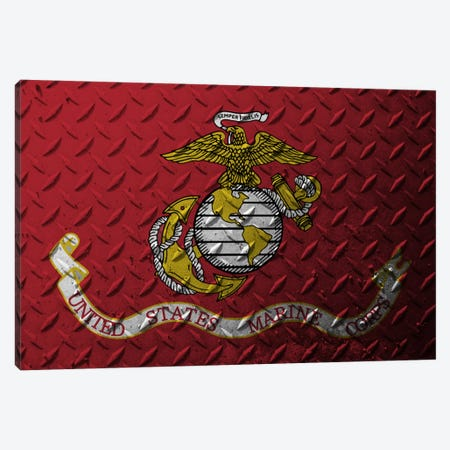 U.S. Marine Corps Flag (Diamond Plate Background) Canvas Print #FLG737} by iCanvas Art Print