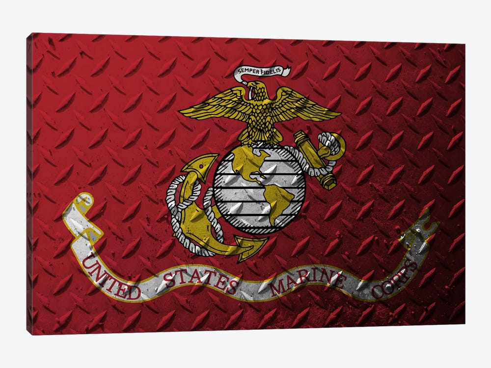 U.S. Marine Corps Flag (Diamond Plate Background) by iCanvas 1-piece Art Print
