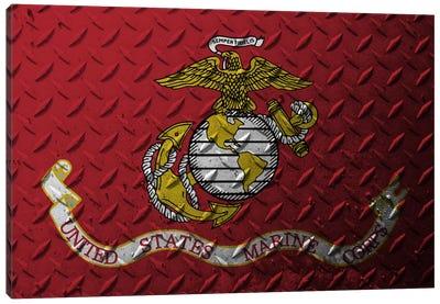 U.S. Marine Corps Flag (Diamond Plate Background) Canvas Art Print