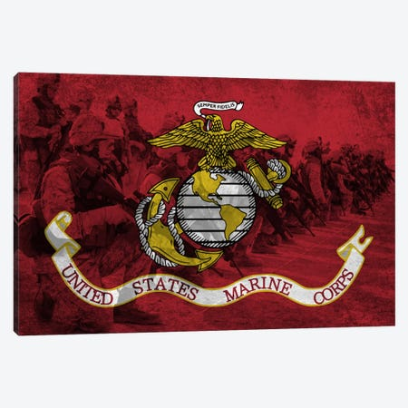 U.S. Marine Corps Flag (Platoon Background) Canvas Print #FLG738} by iCanvas Canvas Artwork
