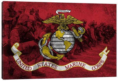 US. Marine FlagModern Soldiers Canvas Art Print