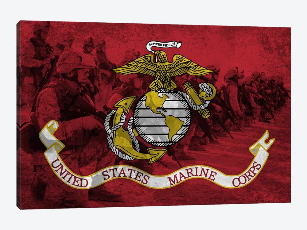 U.S. Marine Corps Flag (Platoon Background) by iCanvas 1-piece Canvas Wall Art