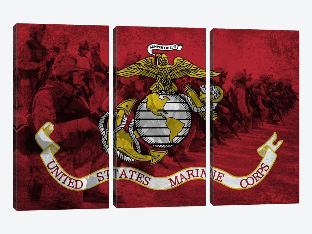 US Marine Corps Flag (Platoon Background) by iCanvas 3-piece Canvas Artwork