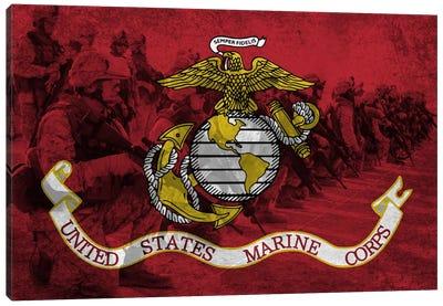 U.S. Marine Corps Flag (Platoon Background) Canvas Art Print