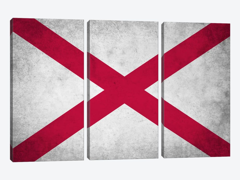State Flag Grunge Series: Alabama by iCanvas 3-piece Art Print