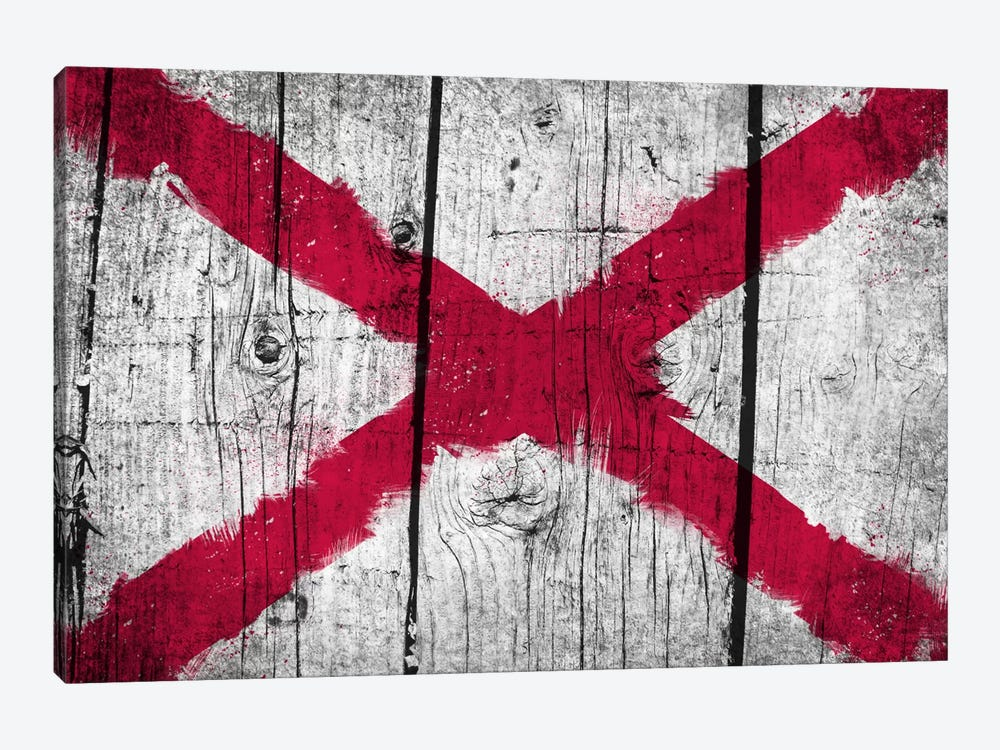 Alabama Fresh Paint State Flag on Wood Planks by iCanvas 1-piece Canvas Wall Art