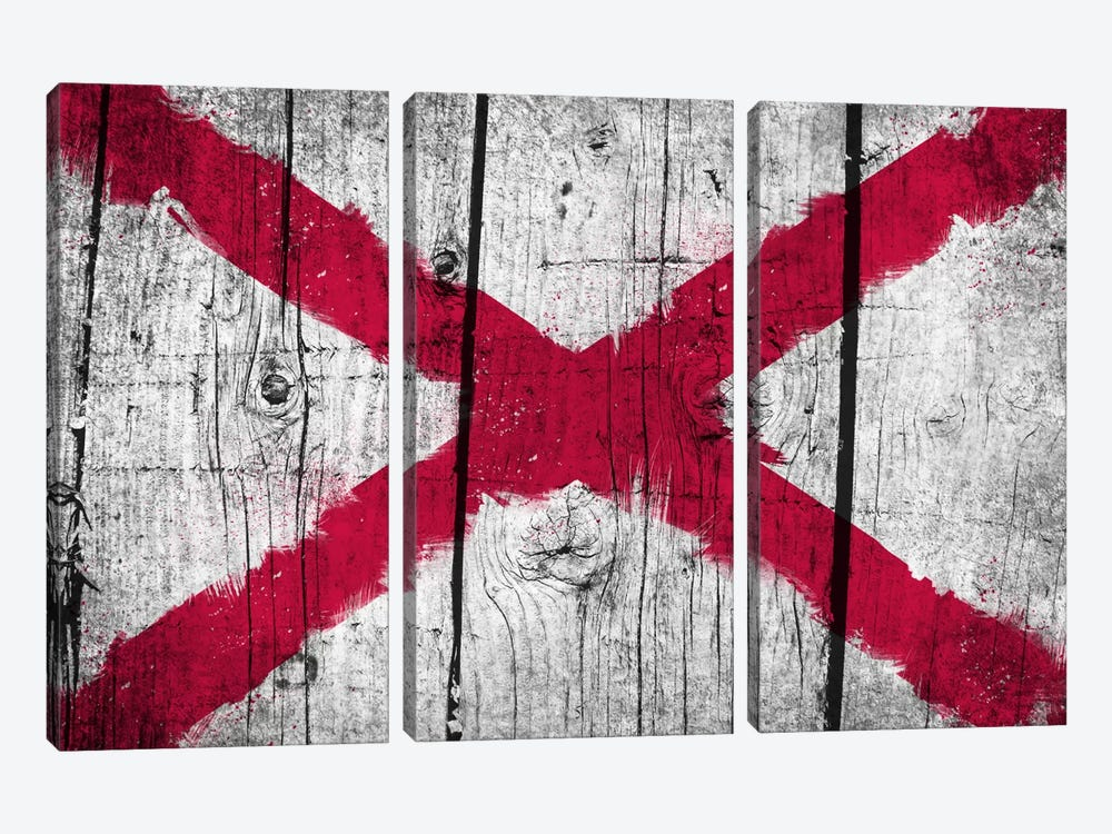 Alabama Fresh Paint State Flag on Wood Planks by iCanvas 3-piece Canvas Art