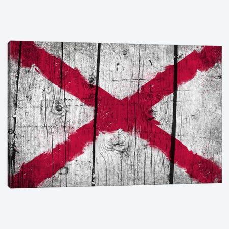 Alabama Fresh Paint State Flag on Wood Planks Canvas Print #FLG743} by iCanvas Canvas Print