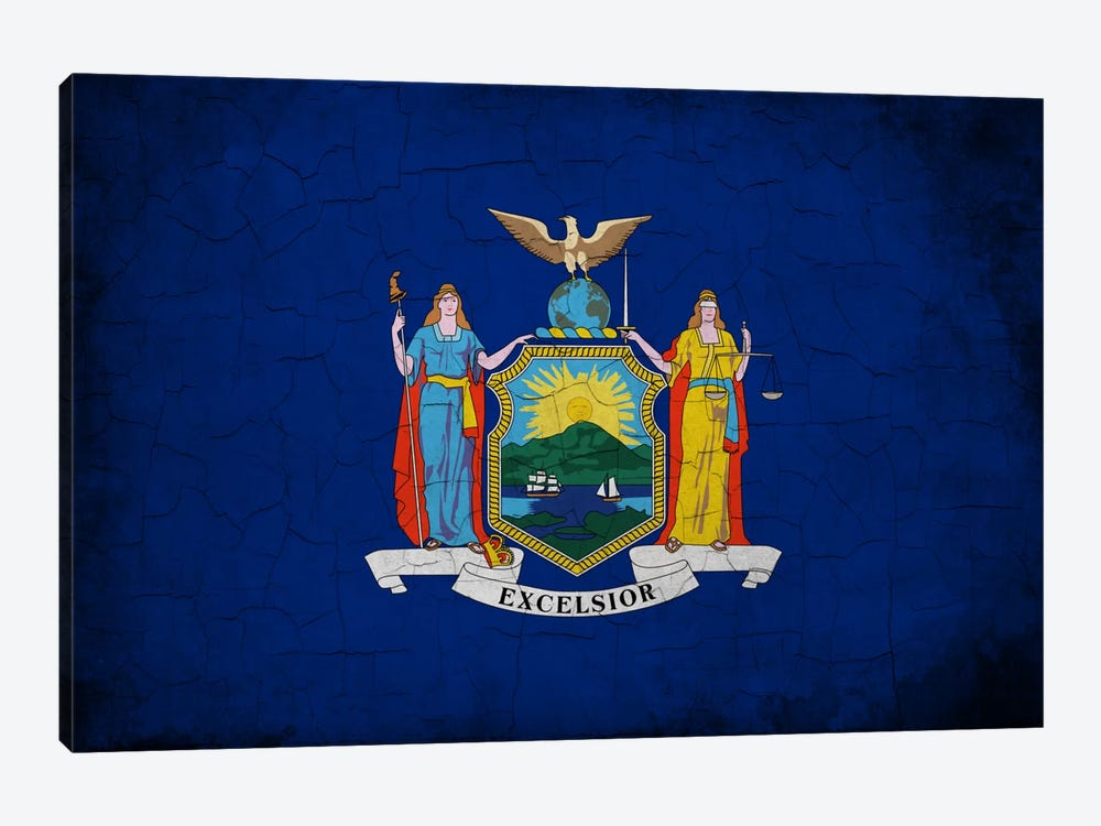 New York Cracked Paint State Flag by iCanvas 1-piece Canvas Print