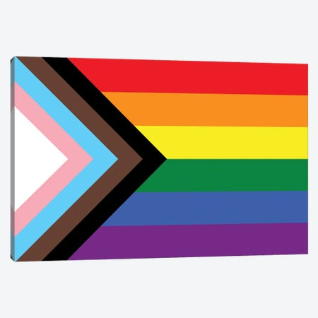 Progress Pride Flag 3-Piece Canvas #FLG755} by 5by5collective Canvas Print
